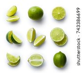 set of fresh whole and cut lime ... | Shutterstock . vector #743386699