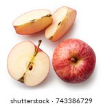 fresh whole apple and slices...   Shutterstock . vector #743386729