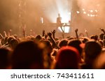 crowd dancing on the summer... | Shutterstock . vector #743411611