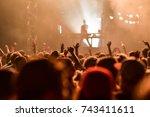 crowd dancing on the summer... | Shutterstock . vector #743411611