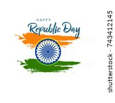 happy republic day background... | Shutterstock .eps vector #743412145