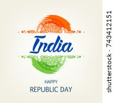 happy republic day background... | Shutterstock .eps vector #743412151