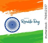 happy republic day background... | Shutterstock .eps vector #743412157