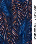 tropical palm leaves. seamless... | Shutterstock . vector #743419084