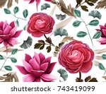 seamless tropical flower  plant ... | Shutterstock . vector #743419099