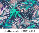 tropical palm leaves seamless... | Shutterstock . vector #743419444