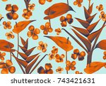 seamless tropical flower  plant ... | Shutterstock . vector #743421631