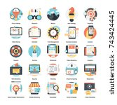set of monitoring and digital... | Shutterstock .eps vector #743424445