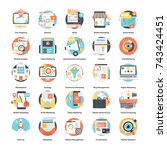 digital advertising icon set  | Shutterstock .eps vector #743424451