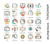 digital marketing icons set  | Shutterstock .eps vector #743424469
