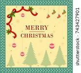 vector illustration of merry... | Shutterstock .eps vector #743427901