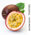 Passion Fruit On A White...