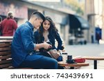 satisfied young couple vr... | Shutterstock . vector #743439691