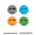 circle mountain with glass and... | Shutterstock .eps vector #743440255