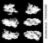 white clouds set  natural 3d... | Shutterstock . vector #743442085