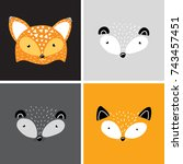animals forest fox | Shutterstock .eps vector #743457451