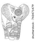 hand drawn baby elephant.... | Shutterstock .eps vector #743471479