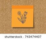 sticker  sticky  paper  orange  ... | Shutterstock .eps vector #743474407