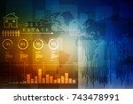 2d rendering stock market... | Shutterstock . vector #743478991