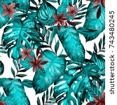 watercolor seamless pattern... | Shutterstock . vector #743480245