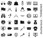 criminal money icons set.... | Shutterstock . vector #743482465