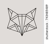 geometric fox head isolated on... | Shutterstock .eps vector #743485489
