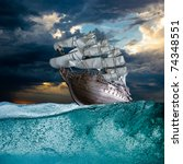 sailing ship in storm sea... | Shutterstock . vector #74348551