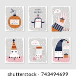 collection of 6 christmas card... | Shutterstock .eps vector #743494699