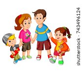 happy family holding hands | Shutterstock . vector #743496124