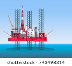 oil rig petroleum production in ... | Shutterstock .eps vector #743498314