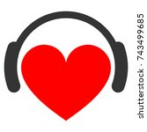 love heart headphones flat... | Shutterstock . vector #743499685