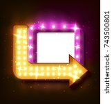 neon sign with arrow and... | Shutterstock .eps vector #743500801