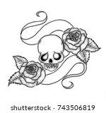 a 3d skull  flowing banner  ... | Shutterstock . vector #743506819