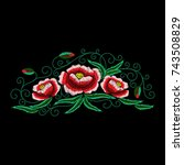 field flowers embroidery ... | Shutterstock .eps vector #743508829