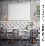 interior of white and gray... | Shutterstock . vector #743511421