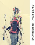 group of cross country skiers... | Shutterstock . vector #743515759