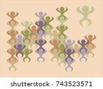 a loopable stylized man figure... | Shutterstock .eps vector #743523571