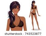 beautiful american african... | Shutterstock .eps vector #743523877