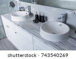 sink in bathroom | Shutterstock . vector #743540269