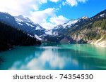 Blanca Lake, Washington State. Located in the Henry M. Jackson Wilderness Area, Beautiful turquoise green lake. Only accessible by foot.  Elevation Gain: 2700 ft in. Time: 5 hours Distance: 8 ml - stock photo