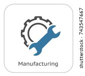 manufacturing icon. gear and... | Shutterstock .eps vector #743547667