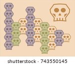 a loopable vector skull module... | Shutterstock .eps vector #743550145