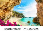 beautiful view over the sea... | Shutterstock . vector #743550925