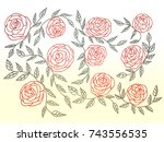 drawing rose flower and leaf... | Shutterstock . vector #743556535