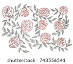drawing rose flower and leaf... | Shutterstock . vector #743556541