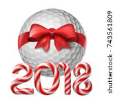 golf ball tied with a red bow... | Shutterstock .eps vector #743561809