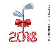 golf irons tied with a red bow... | Shutterstock .eps vector #743561839