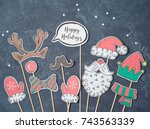 christmas background with... | Shutterstock . vector #743563339