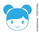 cartoon girl face icon | Shutterstock .eps vector #743571304