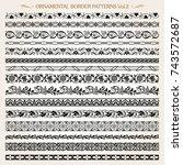 set of vintage style ornamental ... | Shutterstock .eps vector #743572687